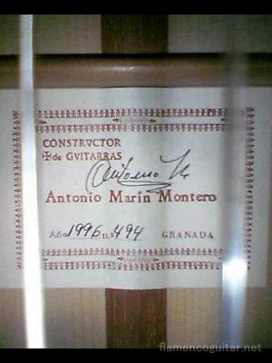 アントニオ・マリン・モンテロ 1995 ラベル